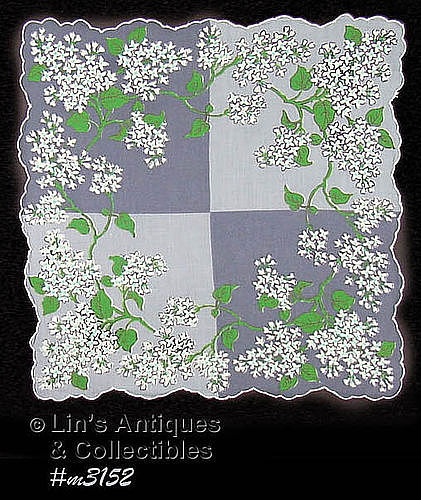 VINTAGE GRAY HANDKERCHIEF WITH WHITE LILACS