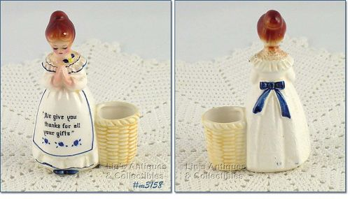 ENESCO PRAYER LADY MOTHER IN THE KITCHEN WHITE DRESS TOOTHPICK HOLDER