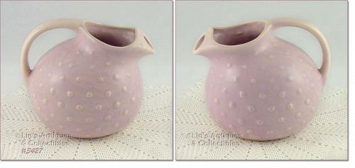McCOY POTTERY HOBNAIL ICE LIP BALL SHAPED LILAC COLOR PITCHER