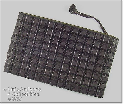 VINTAGE PLASTICFLEX PLASTIC SQUARES CLUTCH STYLE HANDBAG