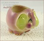 SHAWNEE POTTERY ROLY POLY PURPLE ELEPHANT PLANTER WITH GOLD TRIM