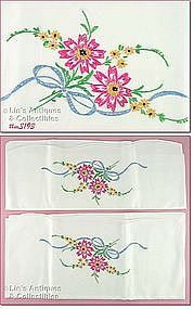 EMBROIDERED FLORAL BOUQUET PILLOWCASES