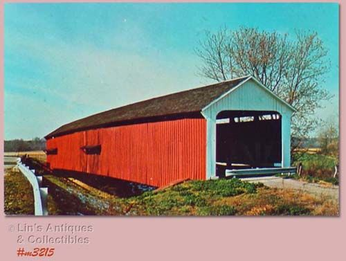 COVERED BRIDGE POSTCARD OVERED BRIDGE, PARKE COUNTY, INDIANA, NO. 16