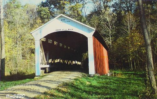 COVERED BRIDGE POSTCARD�COVERED BRIDGE, PARKE COUNTY, INDIANA, No.25