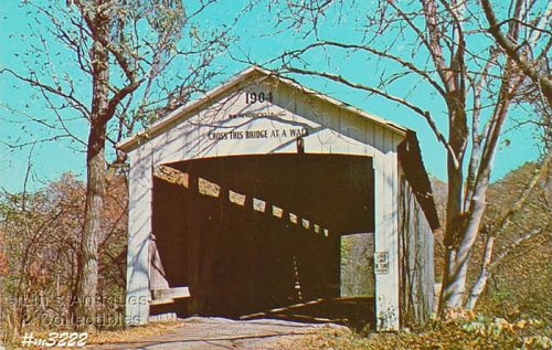 COVERED BRIDGE POSTCARD PARKE COUNTY, INDIANA, No. 30