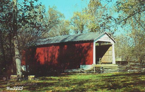 VINTAGE POSTCARD �COVERED BRIDGE, PARKE COUNTY, INDIANA, No. 38