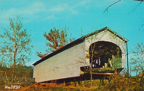 COVERED BRIDGE POSTCARD DEARBORN COUNTY, INDIANA COVERED BRIDGE