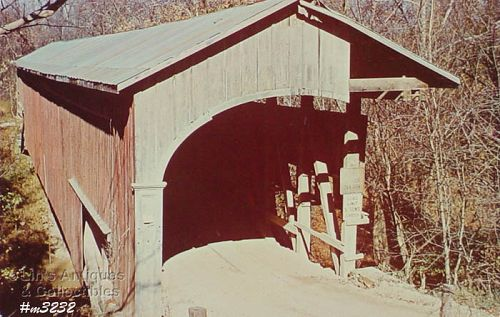 COVERED BRIDGE POSTCARD � COVERED BRIDGE, MONROE COUNTY, INDIANA