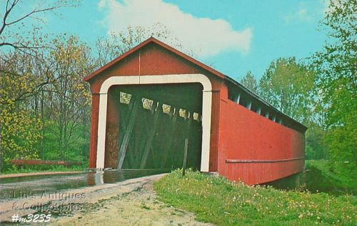 COVERED BRIDGE POSTCARD COVERED BRIDGE, ADAMS COUNTY, INDIANA