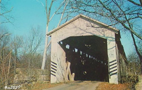 COVERED BRIDGE POSTCARD � COVERED BRIDGE, GIBSON COUNTY, INDIANA