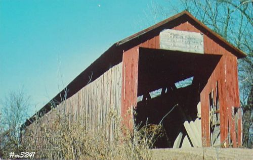 COVERED BRIDGE POSTCARD � OLD RED BRIDGE, GIBSON COUNTY, INDIANA