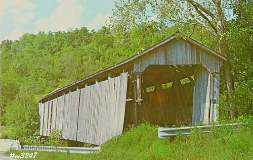 COVERED BRIDGE POSTCARD ST. MARY�S OF THE ROCK COVERED BRIDGE