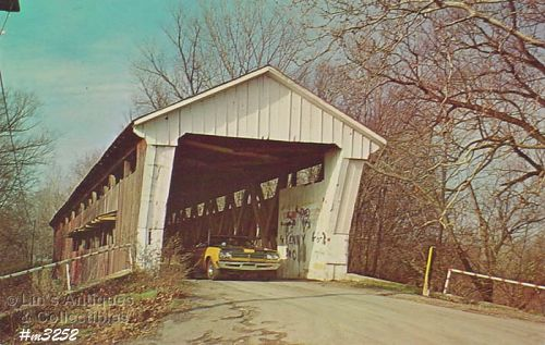Covered Bridge Postcard Coburn Bridge De Kalb Co Indiana