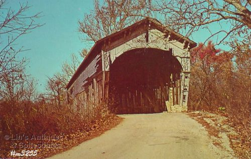 COVERED BRIDGE POSTCARD LONGWOOD BRIDGE
