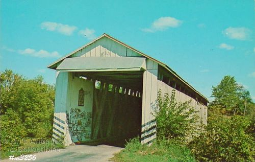 COVERED BRIDGE POSTCARD � COVERED BRIDGE, GRANT COUNTY, INDIANA