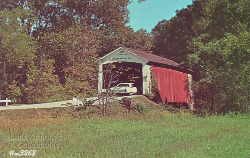 COVERED BRIDGE POSTCARD � COVERED BRIDGE, PARKE COUNTY, INDIANA