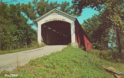 COVERED BRIDGE POSTCARD COVERED BRIDGE, PARKE COUNTY, INDIANA