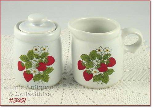 McCOY POTTERY STRAWBERRY COUNTRY CREAMER AND COVERED SUGAR