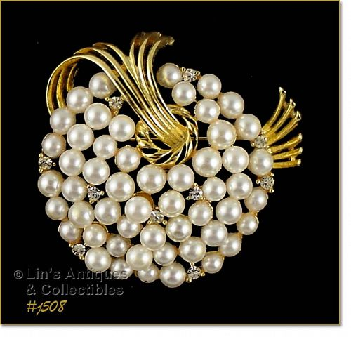 LISNER RHINESTONE AND FAUX PEARL VINTAGE BROOCH PIN
