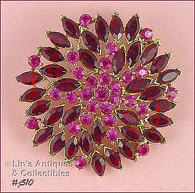 RED AND PINK RHINESTONES PIN