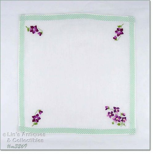 EMBROIDERED PURPLE VIOLETS VINTAGE HANKY HANDKERCHIEF