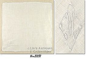 WHITE HANDKERCHIEF WITH WHITE �M� MONOGRAM