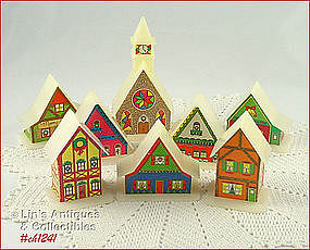 PLASTIC VILLAGE LIGHT COVERS (8)