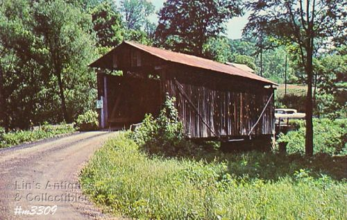 COVERED BRIDGE POSTCARD � MARTIN BRIDGE, WASHINGTON COUNTY, OHIO