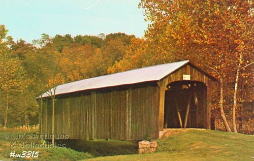 COVERED BRIDGE POSTCARD � SALT CREEK BRIDGE VINTAGE POSTCARD
