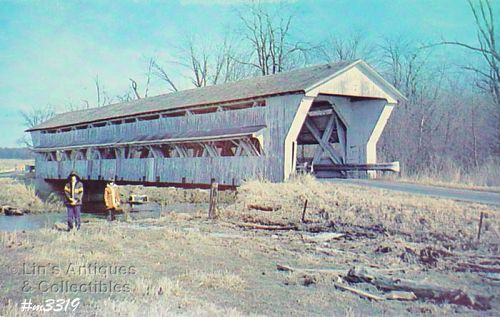 COVERED BRIDGE POSTCARD UNION COUNTY, OHIO COVERED BRIDGE
