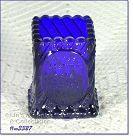 VINTAGE COBALT BLUE GLASS SOUVENIR TOOTHPICK HOLDER DATED 1972