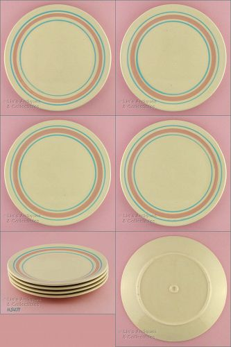 McCOY POTTERY � PINK AND BLUE CHOP OR PASTA PLATES (4)