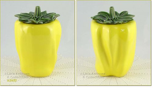 McCOY POTTERY YELLOW PEPPER COOKIE JAR BRIGHT YELLOW COLOR