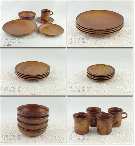 McCOY POTTERY VINTAGE CANYON 20 PIECE DINNERWARE SERVICE FOR 4