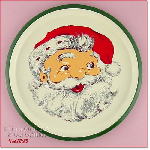 VINTAGE CHRISTMAS SANTA SERVING TRAY BY NORCREST