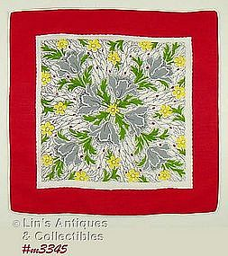 HANDKERCHIEF WITH GRAY POPPIES AND RED BORDER