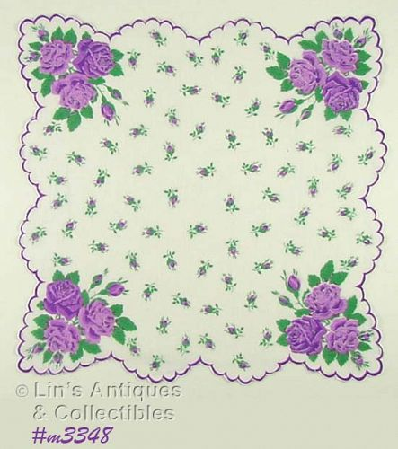 HANDKERCHIEF WITH LOTS OF PURPLE ROSES