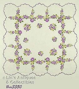HANDKERCHIEF WITH LITTLE PURPLE ROSES