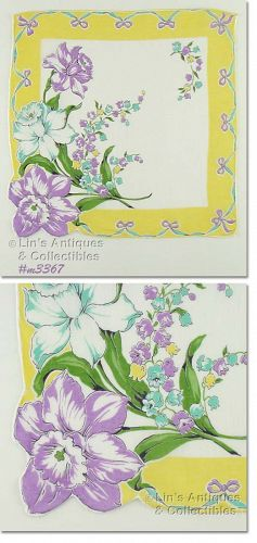 PURPLE DAFFODILS AND WHITE DAFFODILS VINTAGE HANKY HANDKERCHIEF