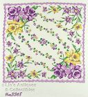 VINTAGE HANKY HANDKERCHIEF WITH LOTS OF PURPLE AND YELLOW DAFFODILS