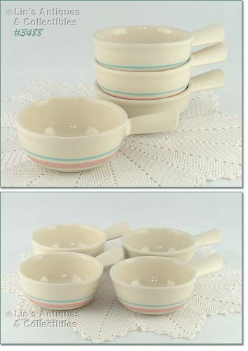 McCOY POTTERY � PINK AND BLUE CASSEROLES (4)