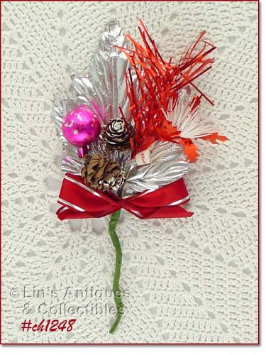 VINTAGE CHRISTMAS CORSAGE WITH SILVER LEAF PINE CONES GLASS ORNAMENT
