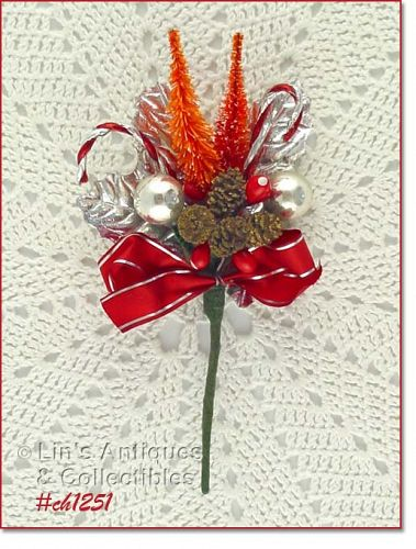 VINTAGE CHRISTMAS CORSAGE WITH PINE CONES CANDY CANES SILVER LEAVES