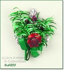 VINTAGE CHRISTMAS CORSAGE WITH SILVER LEAF BLASS BEADS AND MORE