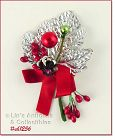 VINTAGE CHRISTMAS CORSAGE WITH SILVER LEAF HOLLY BERRIES RED RIBBON