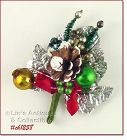 VINTAGE CHRISTMAS CORSAGE WITH PINE CONE GLASS BEADS SILVER LEAVES