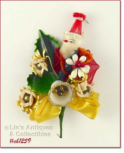 VINTAGE CHRISTMAS CORSAGE WITH SANTA FLOWERS BELL BERRIES AND MORE