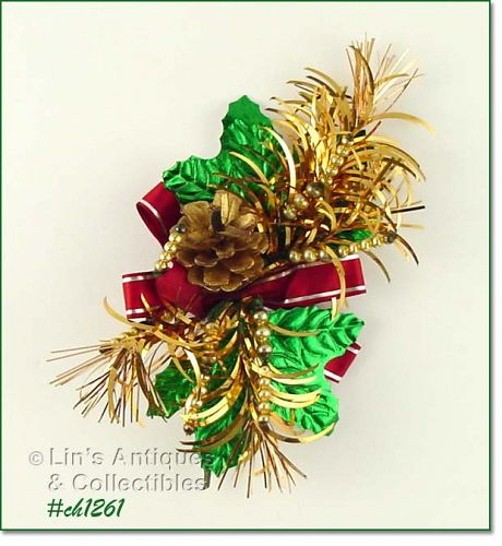 VINTAGE CHRISTMAS CORSAGE WITH PINE CONE GLASS BEADS AND MORE