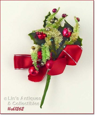 VINTAGE CHRISTMAS CORSAGE WITH GLASS BEADS GREENERY AND RIBBONS