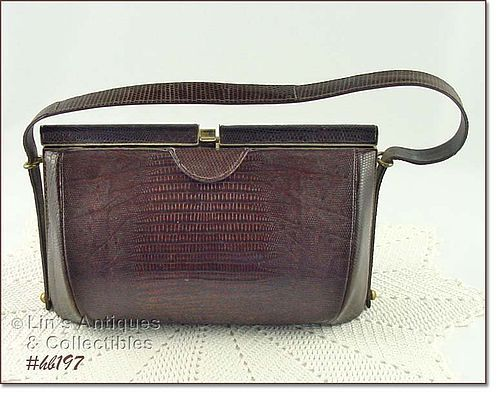 VINTAGE BROWN REPTILE HANDBAG